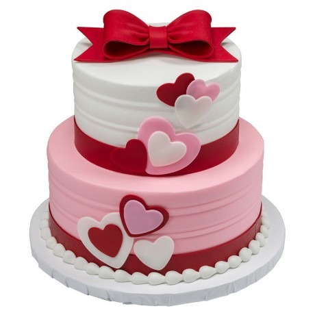 bow & red hearts cake 6