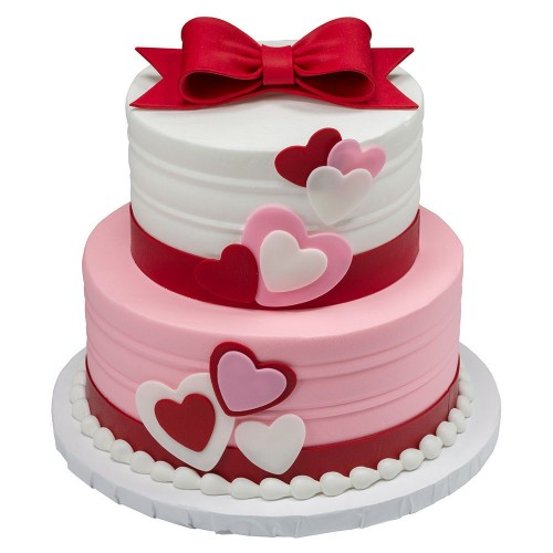 bow & red hearts cake 7
