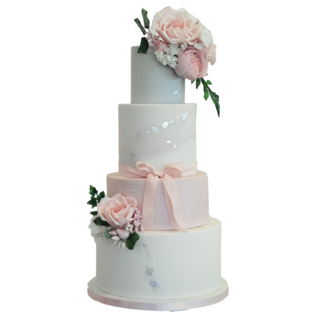 classy elegant cake pink silver and white 6