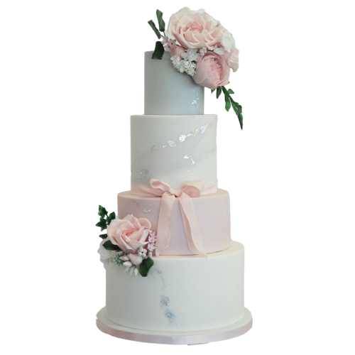 classy elegant cake pink silver and white 7