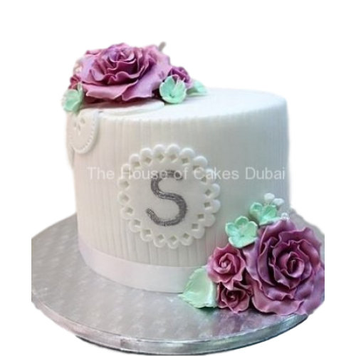 Cake with letter and roses
