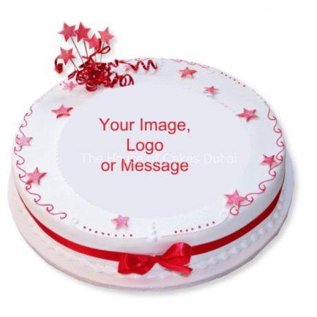 round corporate cake with logo 6
