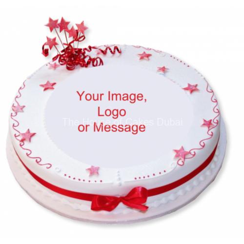 round corporate cake with logo 7
