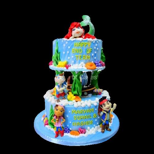 Ariel and Jake Neverland pirates cake