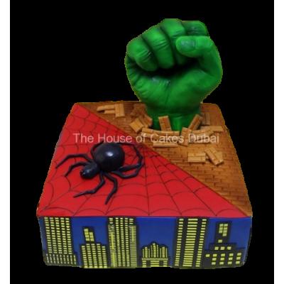 Spiderman and Hulk Cake