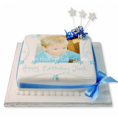 Square cake with photo