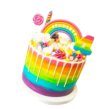 rainbow dripping cake 6