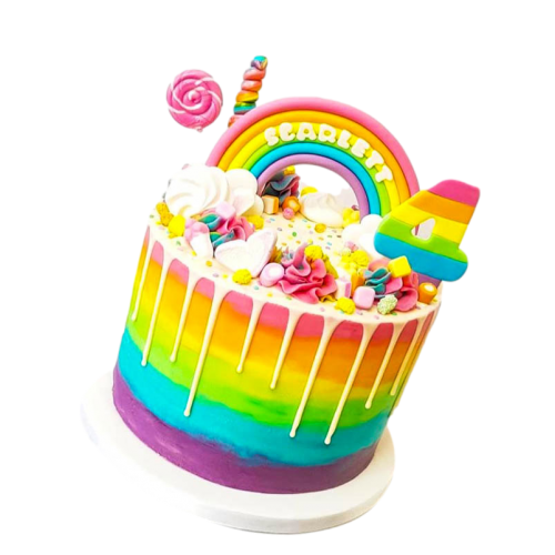 Rainbow dripping cake