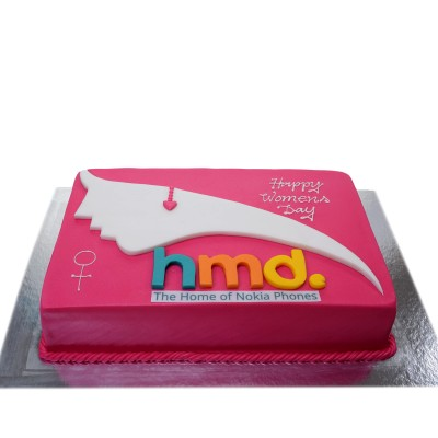 Cake with cut out logo
