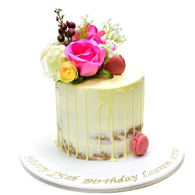 Naked dripping cake with roses 2