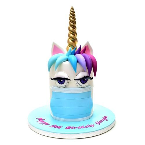 Corona themed unicorn cake