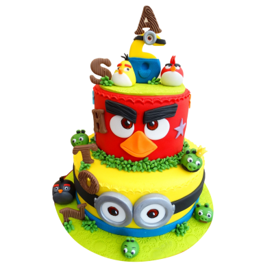Angry birds and minions cake