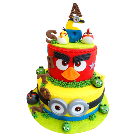 angry birds and minions cake 12