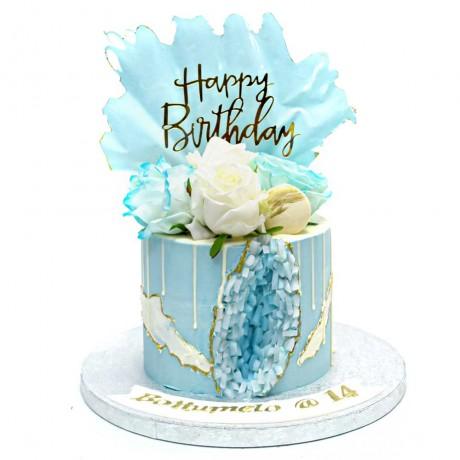 light blue geode cake 6