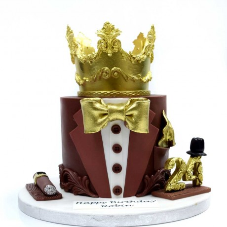 stylish tuxedo and crown cake 6