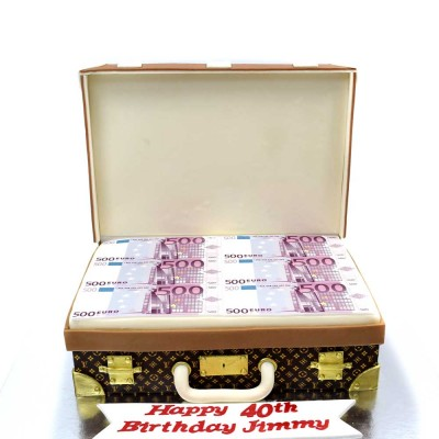 Louis Vuitton suitcase cake full with money