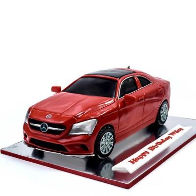 Mercedes car cake - metallic red