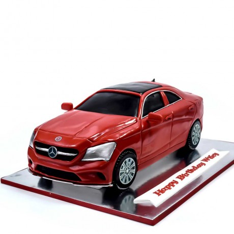 mercedes car cake - metallic red 6