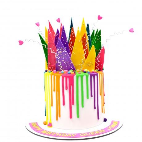 colourful summer theme drip cake 6