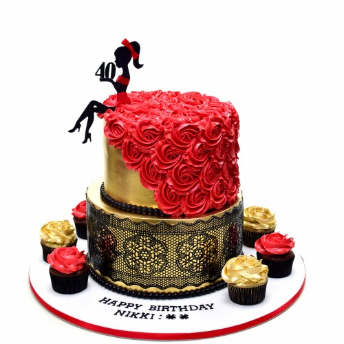 elegant gold cake with black lace and red dress 8