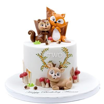 Woodland Animals Theme Cake
