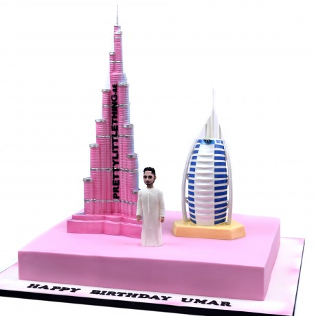 burj khalifa and burj al arab dubai themed cake 2 6