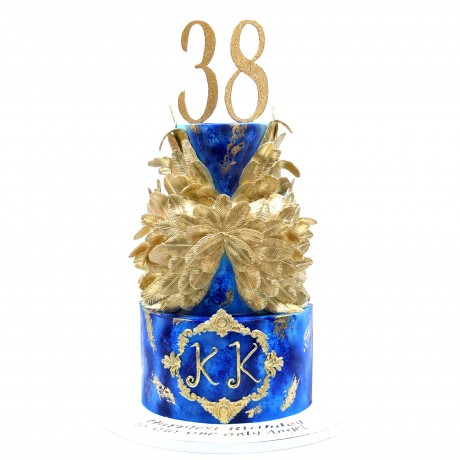 gold and blue cake 12