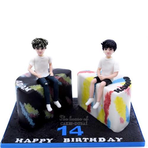 twin boys birthday cake half and half 7