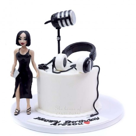 lady microphone and headset cake 12