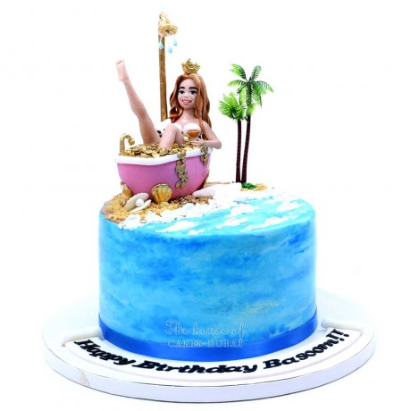 lady in gold hot tub cake 6