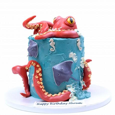 cute octopus and sea creatures cake 6