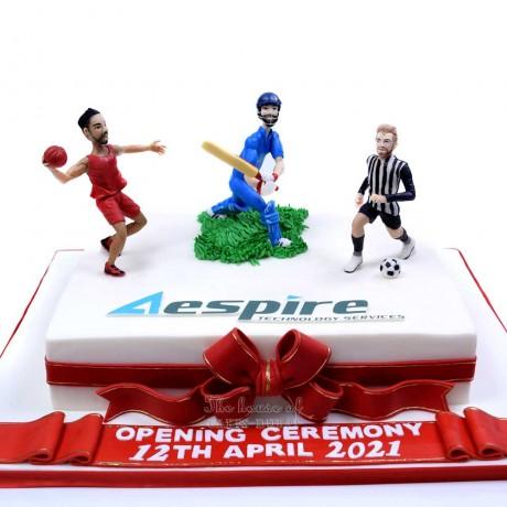 basketball, cricket and football sports theme cake. 6