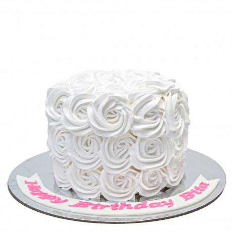 white rosettes cake with cream 12