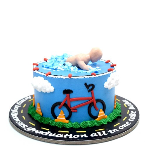 Swimming and cycling cake