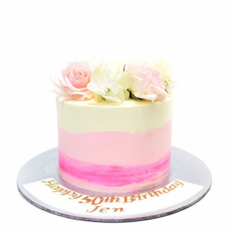 pink ombre cake with flowers 2 7