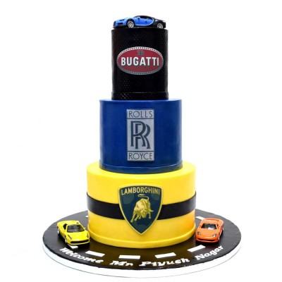 Bugatti, Lamborghini and Rolls Royce theme cake