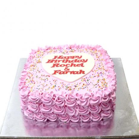 simple pink cream cake 12
