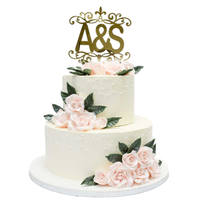 Wedding Cake with roses and personalised topper