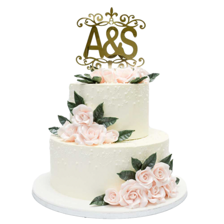 wedding cake with roses and personalised topper 6