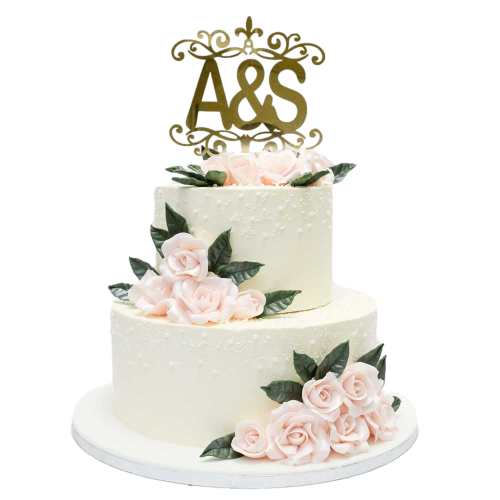 wedding cake with roses and personalised topper 7