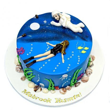 half diver half astronaut cake 6
