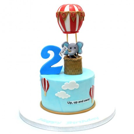 first birthday cake with elephant and balloon 13