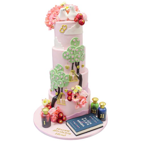 birds book and flowers cake 7