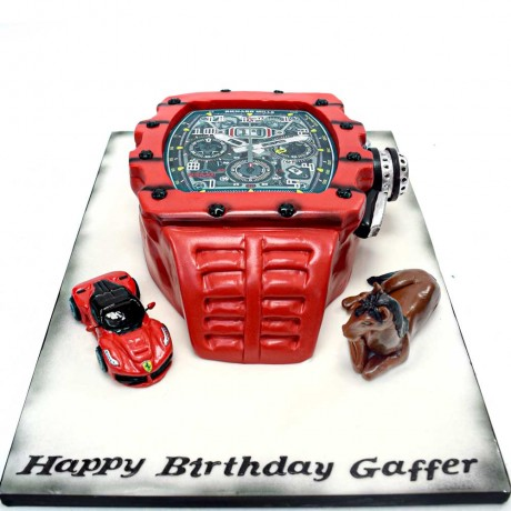 watch cake with ferrari and horse 6