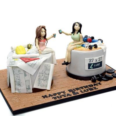 Half fitness half architect cake