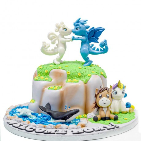 baby dragons and other favorite characters cake 6