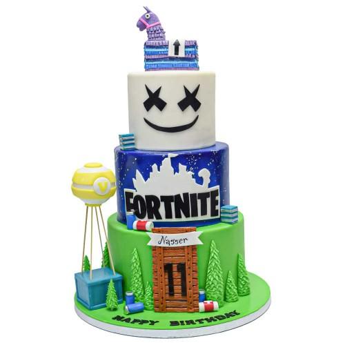 fortnite and marshmello cake 7