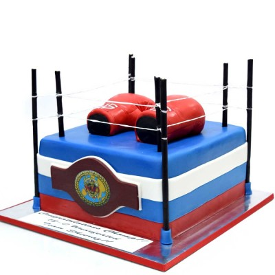 Boxing gloves and ring cake