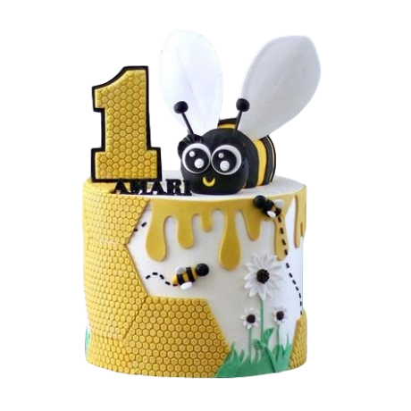 first birthday cake with bee 6
