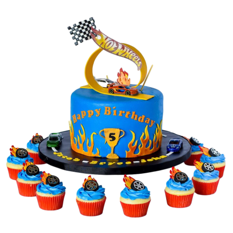 hot wheels cake and cupcakes 2 6